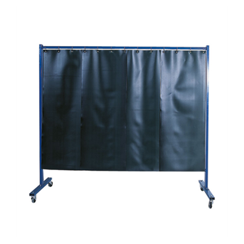 1-panel mobile protection screen with welding strip curtain S9, dark green, matt